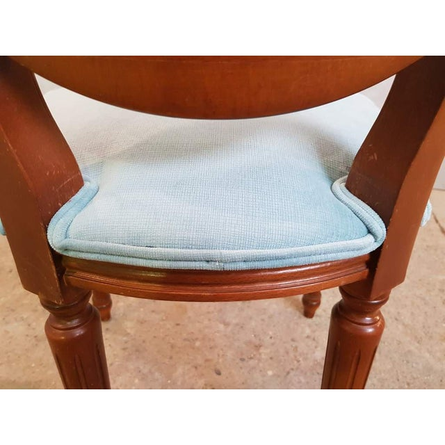 White Set of 6 Vintage French Reupholstered Blue Turquoise Louis XVI Medallion Dining Chairs For Sale - Image 8 of 13
