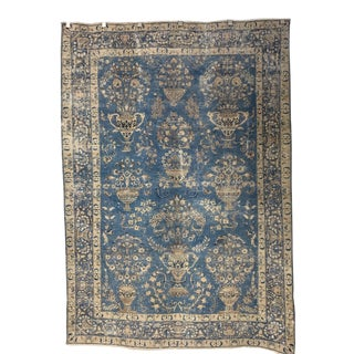 Vintage Mashad Hand Woven Wool Rug-6′7″ × 9′8″ For Sale