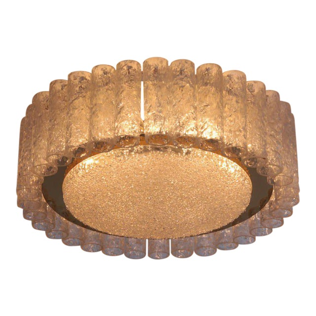 Pair of Large Doria Glass Flush Mounts or Sconces with Brass Surround For Sale