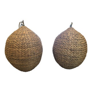 Hanging Rattan Basket Lights - A Pair For Sale