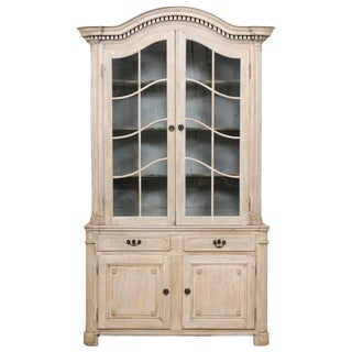 Tall French 19th Century Cabinet With Upper Glass Doors and Bonnet Pediment For Sale