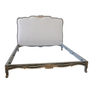 20th Century Louis XV Painted and Silvered California King Bedframe For Sale