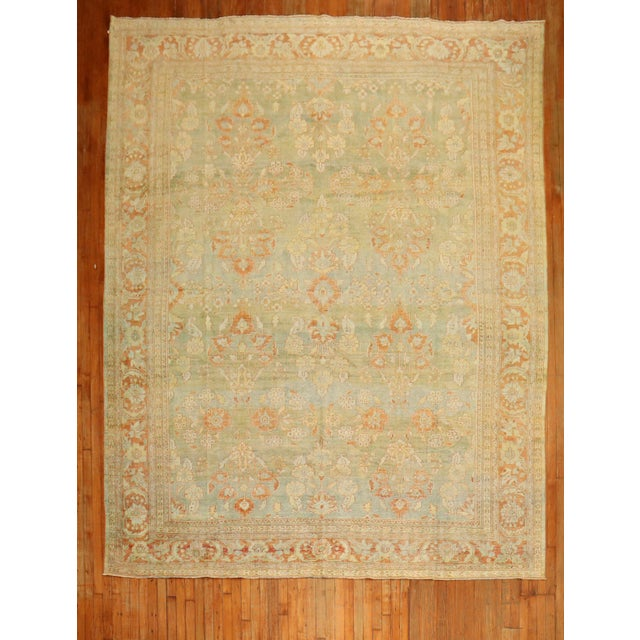 Pale Green Terracotta Antique Rug, 9'1'' X 12'7'' For Sale - Image 13 of 13