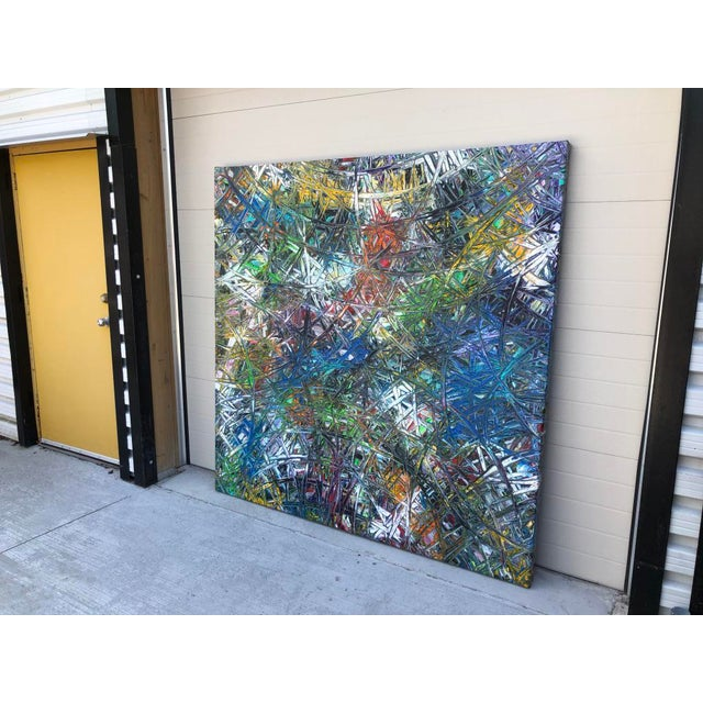 """Acrylic Painting by Artist Troy Smith - 79"""" X 79"""" - Contemporary Art - Abstraction For Sale - Image 6 of 13"""