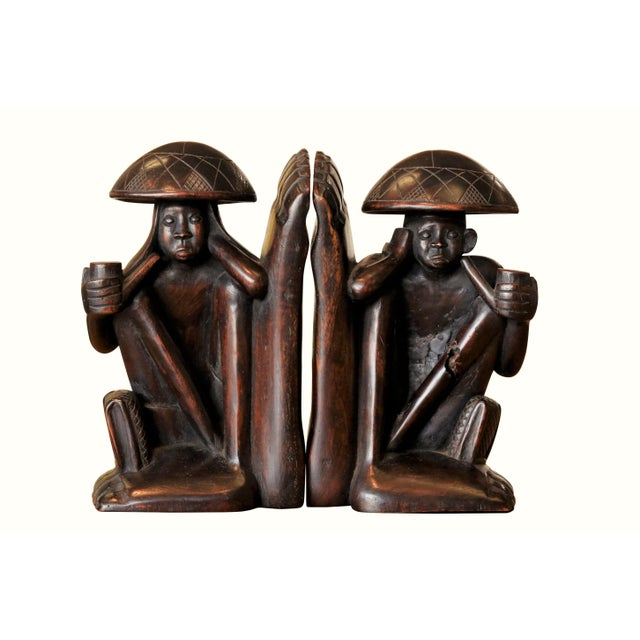 Traditional Carved Figural Book Ends - a Pair For Sale - Image 9 of 9