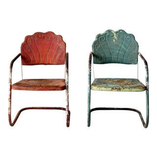 Mid-Century Metal Lawn Chairs - Set of 2 For Sale