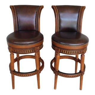 Front-Gate Hawthorne Leather Swivel Stools - a Pair For Sale