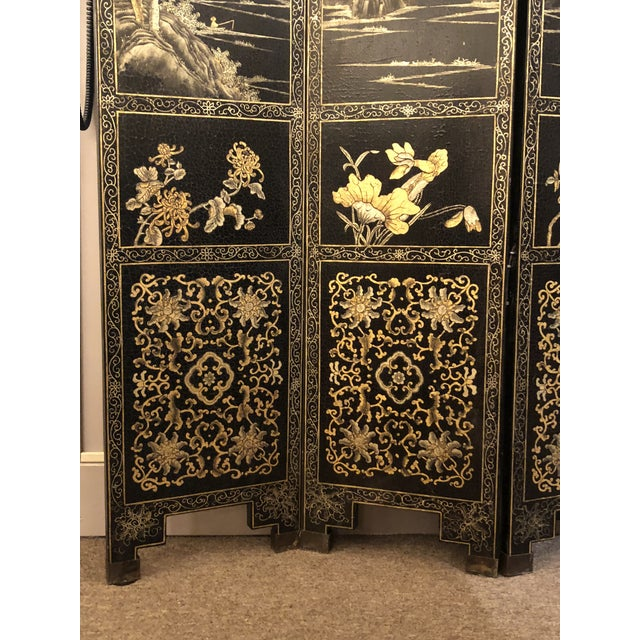 Asian Antique Chinese Lacquered 12 Panel Screen, Circa 1890-1910. For Sale - Image 3 of 6