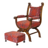 Image of Renaissance Style Carved Walnut Savonarola Chair & Ottoman For Sale