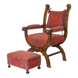 Renaissance Style Carved Walnut Savonarola Chair & Ottoman