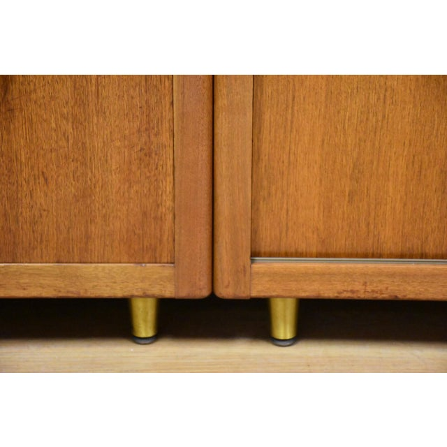 Walnut and Brass Tv Console Credenza - Image 10 of 11