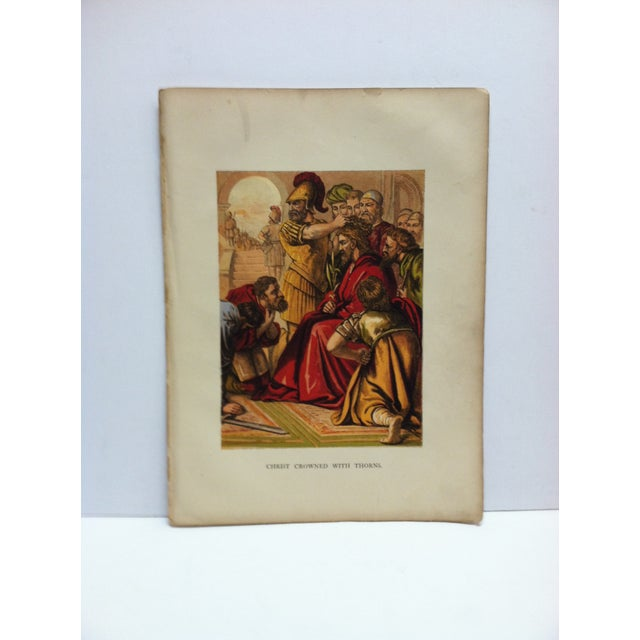 """Late 19th Century Antique """"Christ Crowned With Thorns"""" Religious Print For Sale - Image 4 of 4"""