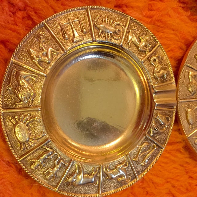 Mid 20th Century Brass Zodiac Ashtrays- Set of 4 For Sale - Image 5 of 7