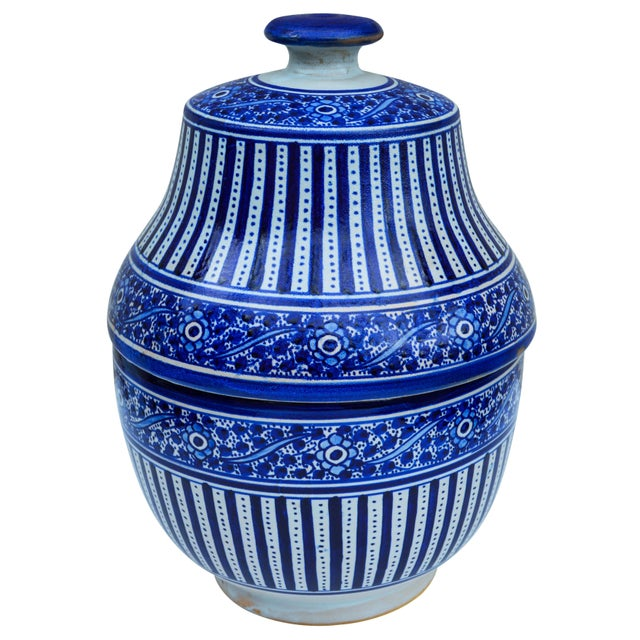 Handmade Moroccan Ceramic Urn W/ Blues For Sale - Image 4 of 4