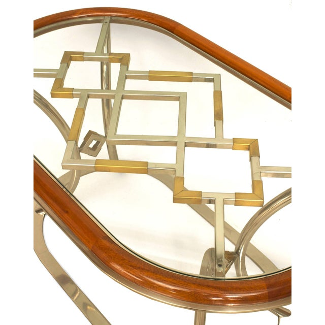 French Pair of Fabulous Brass Oval Coffee Tables, by Alain Delon for Maison Jansen For Sale - Image 3 of 4