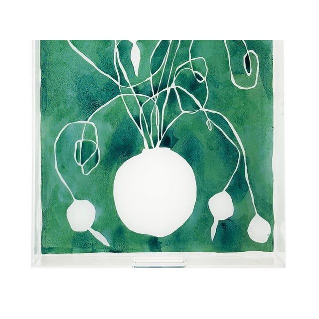 Transitional Celadon Orchid by Kate Roebuck, Tray For Sale - Image 3 of 4