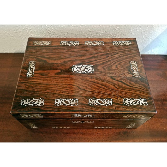19c British Rosewood and Mop Inlaid Dressing Table Box For Sale - Image 12 of 13