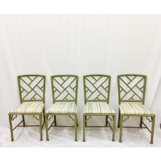 Vintage Faux Bamboo Chinese Chippendale Chairs - Set of 4 Preview