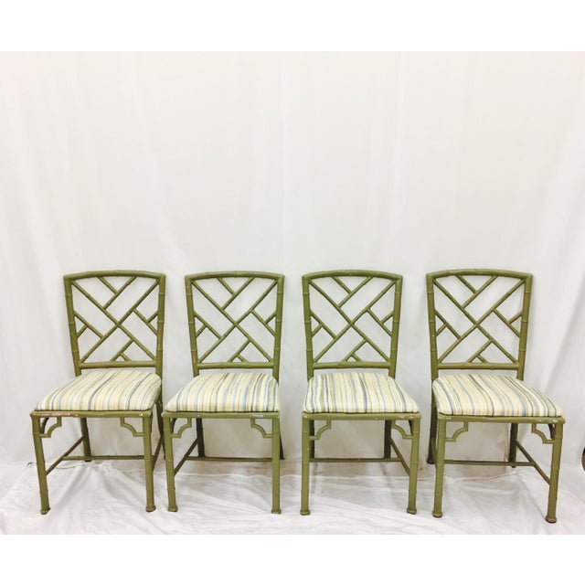 Vintage Faux Bamboo Chinese Chippendale Chairs Set Of 4 Chairish