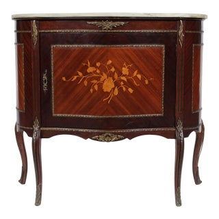 Vintage French Louis XV-Style Marble Top Commode For Sale
