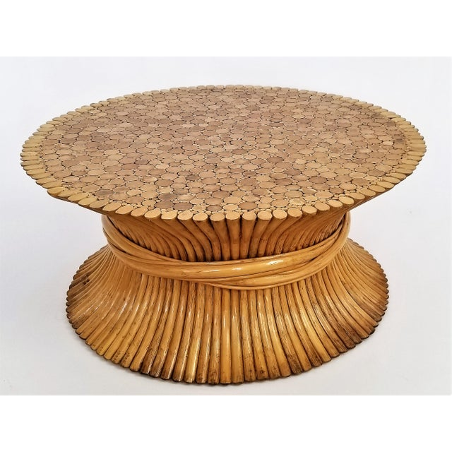 Vintage 1960s Rattan Wheat Sheaf Coffee Table by McGuire For Sale - Image 12 of 12