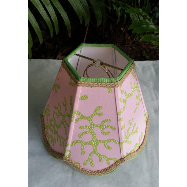 Boho Chic Lampshade Pink Green Tropical Lilly Pulitzer Fabric For Sale - Image 3 of 11