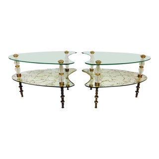 1950's Eglomise Brass and Glass Two-Tier Kidney Side Tables - a Pair