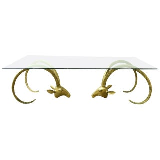 Brass Ibex Ram's Head Coffee Cocktail Table For Sale