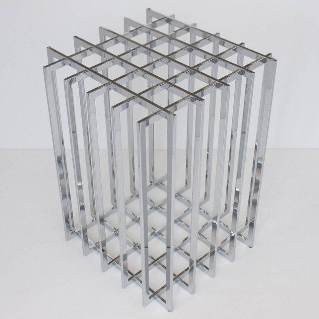 Mid-Century Modern Pierre Cardin Chrome Cage Form Pedestal Dining Table For Sale - Image 3 of 11