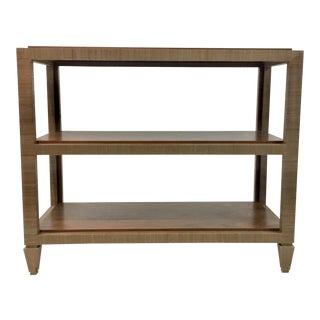 Bungalow 5 Modern Clairmont Lacqured Grasscloth Shelf Taupe For Sale