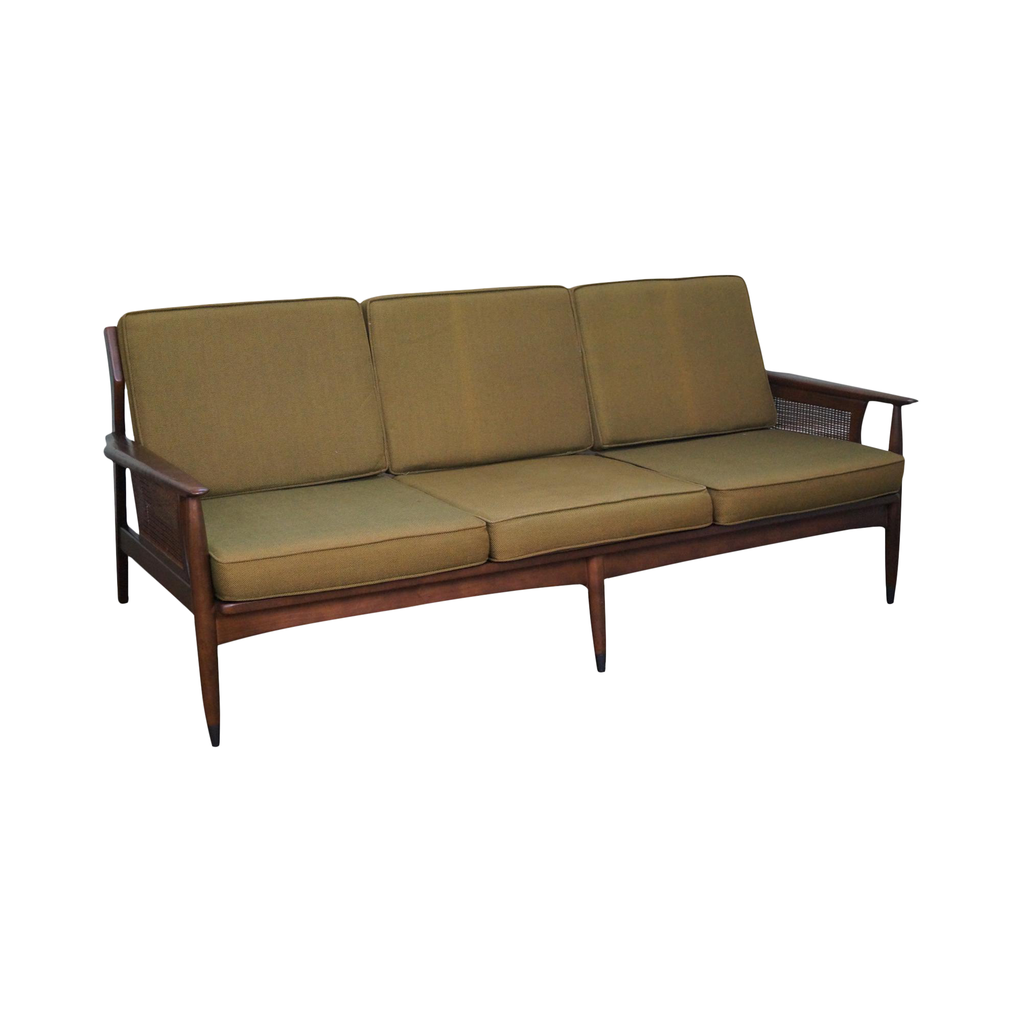 mid century danish modern couch. Mid Century Danish Modern Style Walnut Cane Arm Sofa Couch R