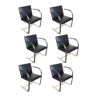 1930s Vintage Flat Bar Brno Chairs by Mies Van Der Rohe- Set of 6 For Sale