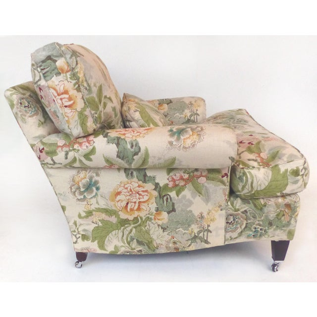Asian Overscale Pair of Chinoiserie Upholstered Club Chairs With Down Cushions For Sale - Image 3 of 12