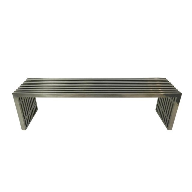 1970s Vintage Chrome Slat Bench / Coffee Table For Sale