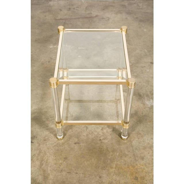 French Rectangular Lucite and Brass Two Tier Side Table For Sale In Birmingham - Image 6 of 12