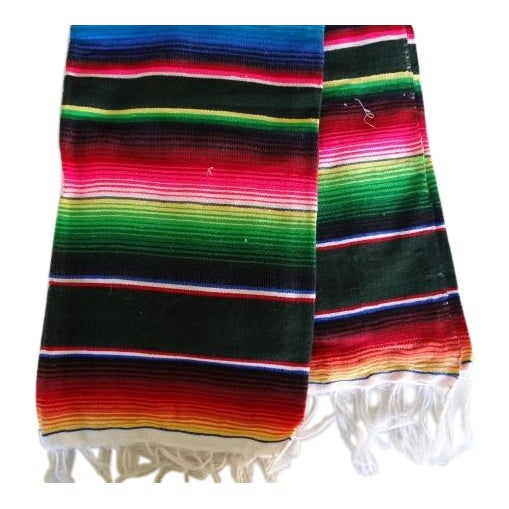 Mexican Sarape Colorful Lightweight Woven Coverlet Throw For Sale