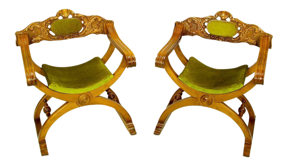 Pair Italian Curule Campaign Chairs In Wood U0026 Chartreuse Velvet For Sale
