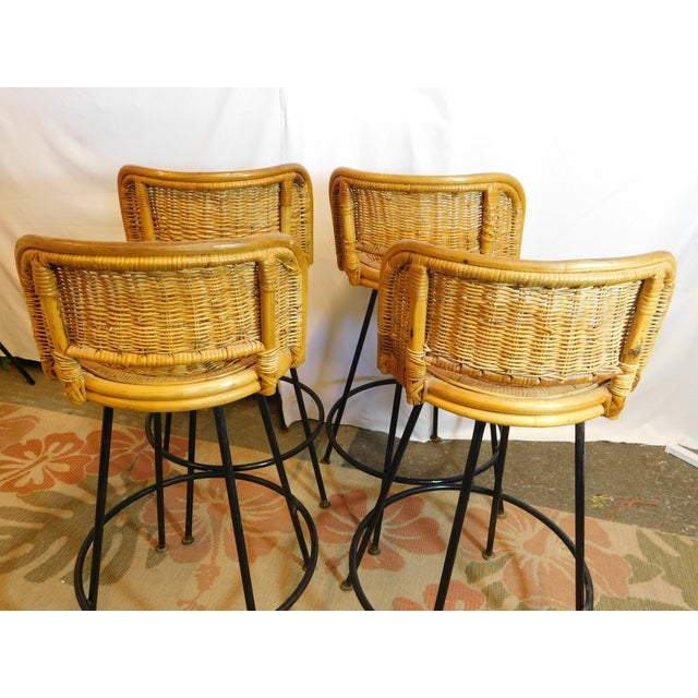 Mid-Century Wicker Bar Stools - Set of 4 - Image 4 of 8