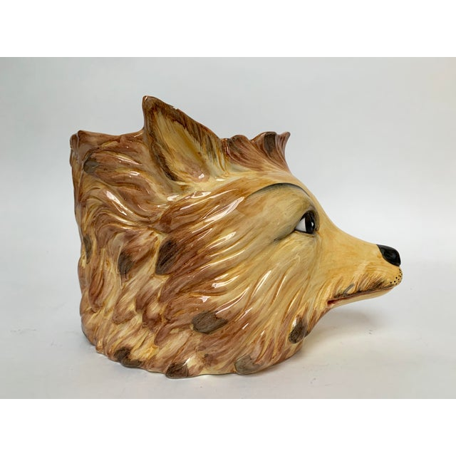 Brown Italian Porcelain Fox Head Vase or Cachepot For Sale - Image 8 of 11