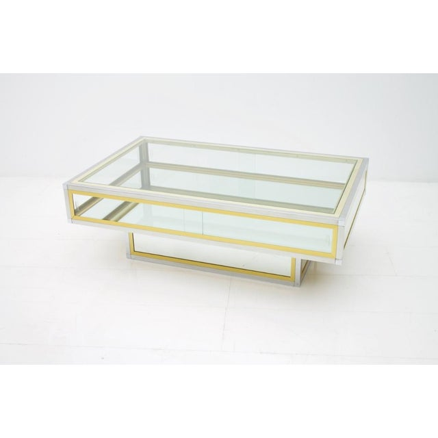Vitrine Coffee Table in Chrome, Brass and Glass, France 1970s For Sale - Image 9 of 13