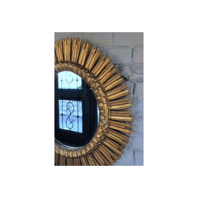 Boho Chic Mid-Century French Sunburst Mirror With Original Mirror Glass For Sale - Image 3 of 9