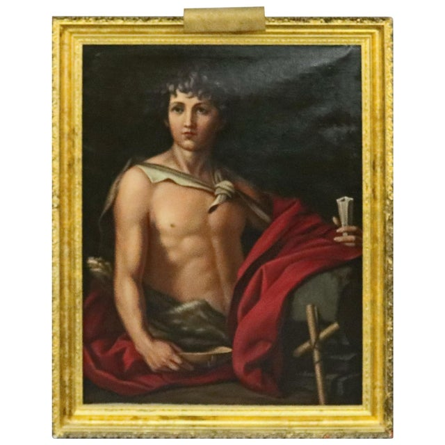 Late 19th Century Antique Italian Oil on Canvas Old Master of Del Sarto's John the Baptist Painting For Sale - Image 10 of 10