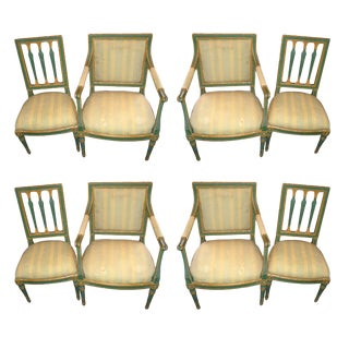Italian Directoire Painted Dining Chairs - Set of 8