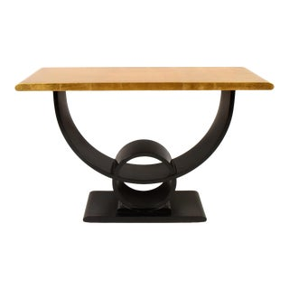 Jay Spectre Gold and Ebony Art Deco Console Table For Sale