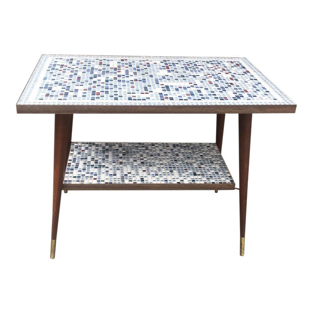 Vintage Mid-Century Modern Mosaic Tile Occasional Table For Sale