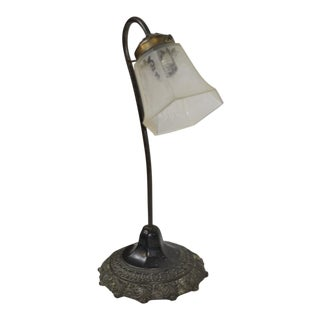 French Art Deco Cast Iron Flower Lamp For Sale