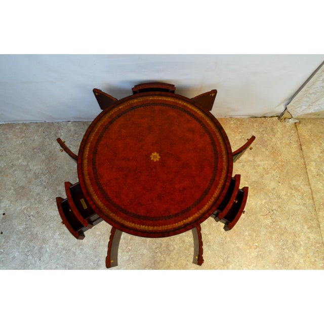 Maitland - Smith Maitland Smith Mahogany Book Leather Accent Round Hall Table For Sale - Image 4 of 13
