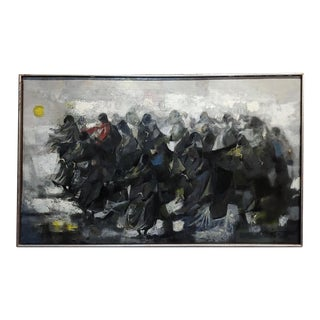 "1965 ""Procession of Nuns"" Oil Painting by Juan Ruiz Chamizo For Sale"