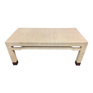 Century Furniture Raffia Wrapped Rectangular Cocktail Table For Sale