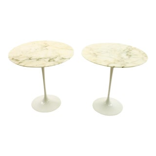 Knoll Mid Century Round Marble Top Side End Tables With Tulip Base - Pair For Sale